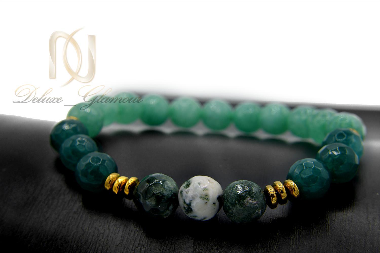 دستبند دخترانه اسپرت سنگ عقیق سبز ds-n467 از نمای مشکی