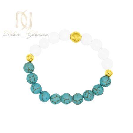 دستبند دخترانه اسپرت سنگ فیروزه و اونیکس DS-N466 از نمای بالا