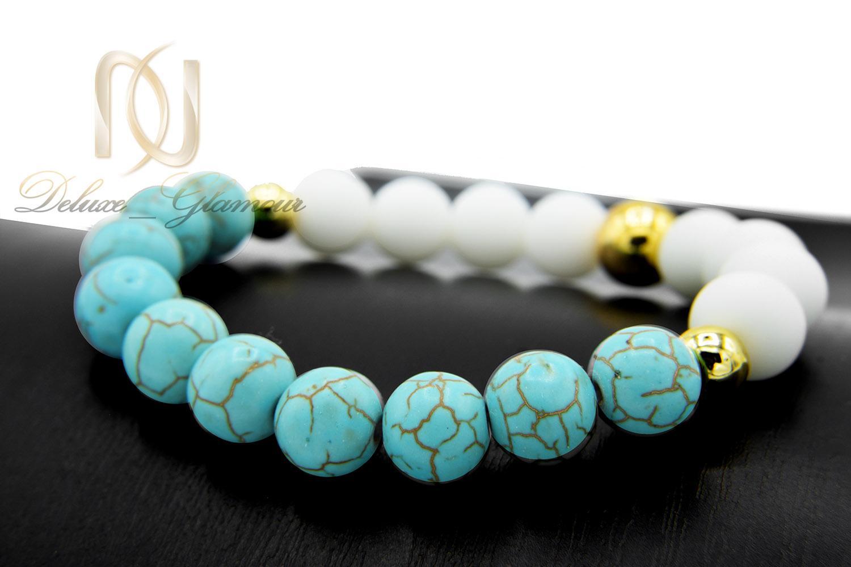 دستبند دخترانه اسپرت سنگ فیروزه و اونیکس DS-N466 از نمای نزدیک