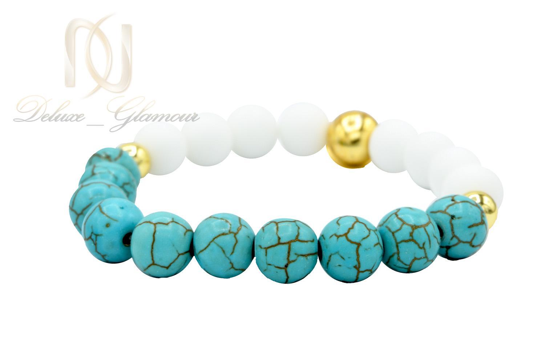 دستبند دخترانه اسپرت سنگ فیروزه و اونیکس DS-N466 از نمای سفید