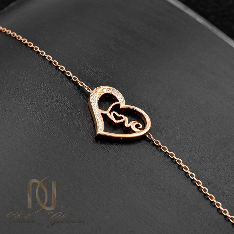دستبند دخترانه طرح love نقره ds-n015 - زمینه مشکی