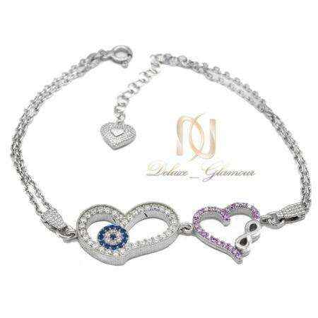 دستبند دخترانه نقره ظریف نگین دار زنجیری ds-n471 از نمای سفید