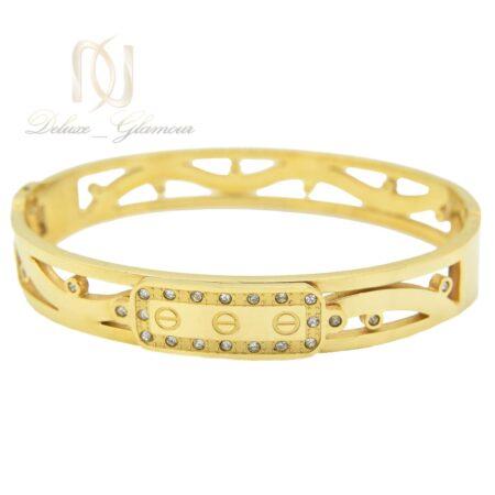 دستبند زنانه طرح کارتیه استیل طلایی ds-n497 از نمای سفید