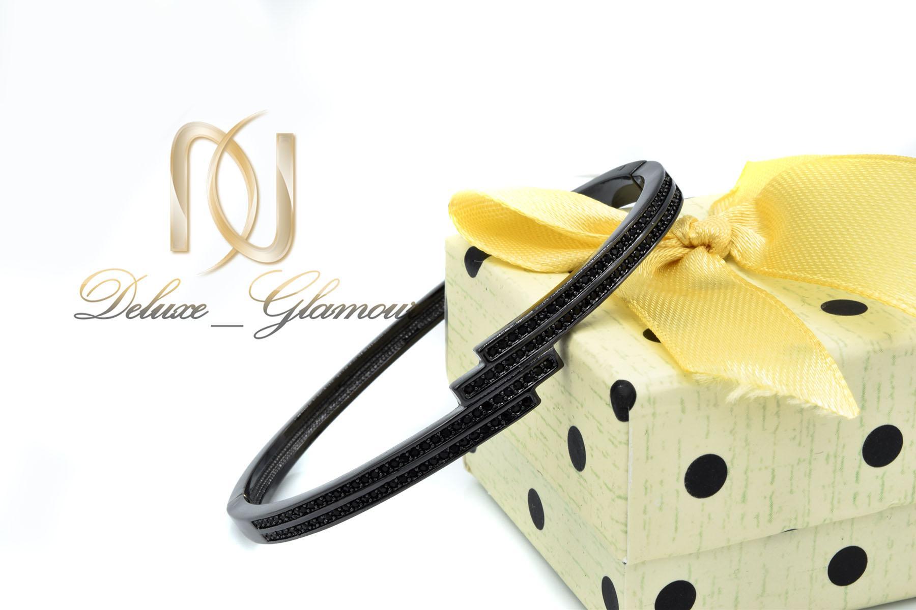 دستبند زنانه مشکی استیل اسپرت شیک ds-n464 از نمای کنار