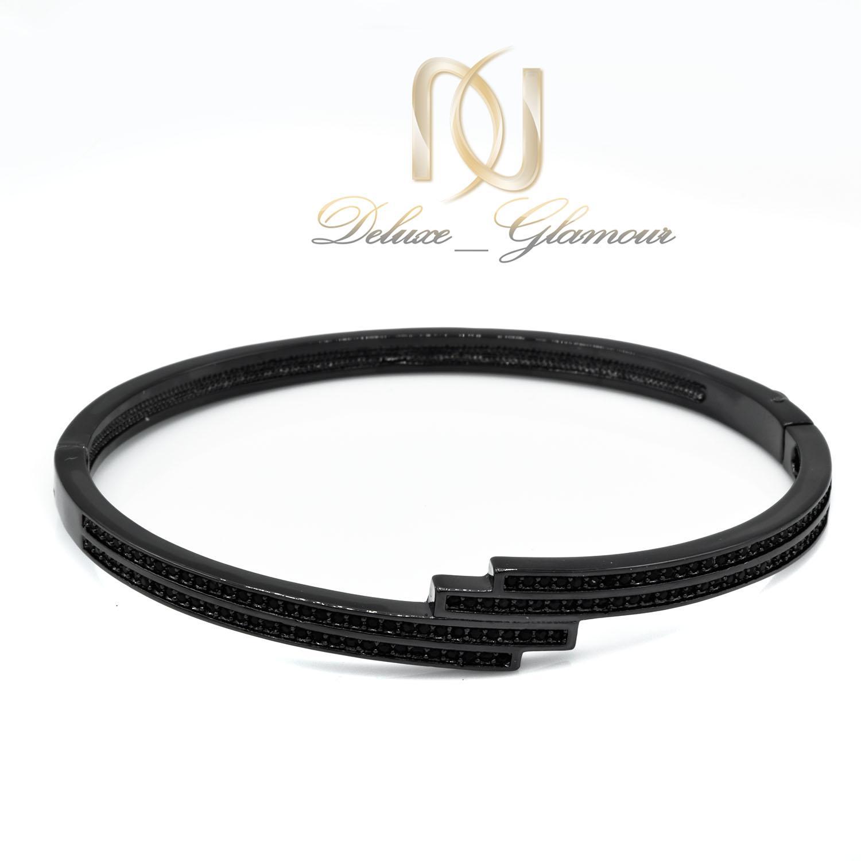 دستبند زنانه مشکی استیل اسپرت شیک ds-n464 از نمای سفید