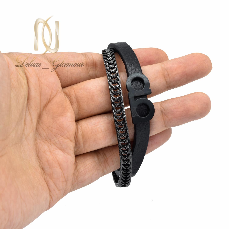 دستبند مردانه چرم طرح ferragamo اسپرت ds-n490