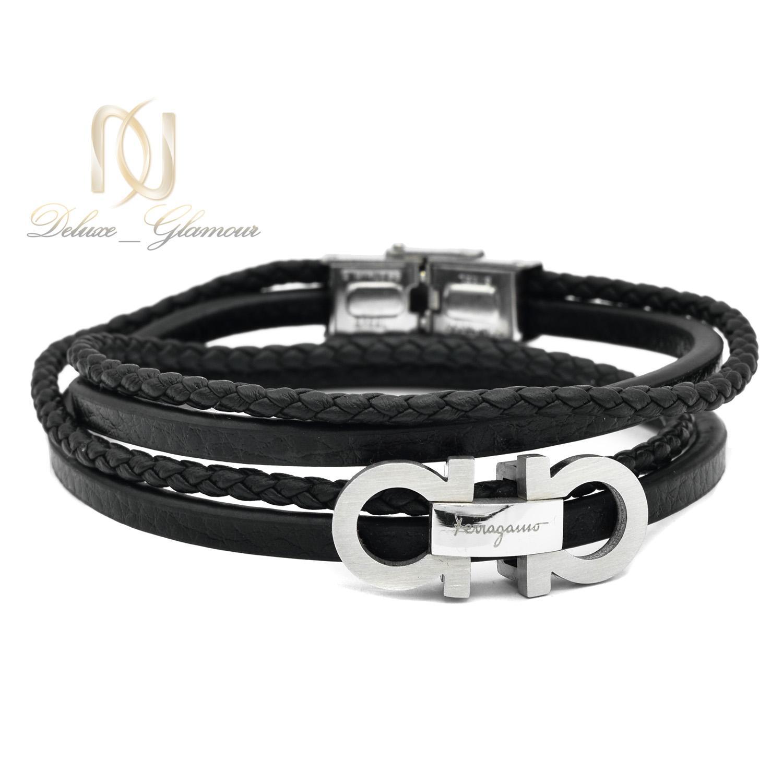 دستبند مردانه چرم طرح ferragamo چند ردیفه ds-n498 از نمای سفید
