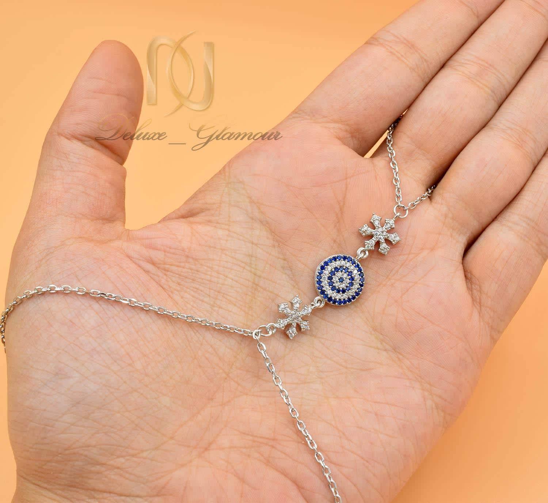 دستبند نقره تمیمه طرح چشم نظر Ds-n572 - عکس روی دست
