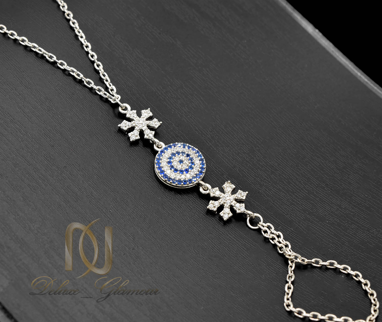 دستبند نقره تمیمه طرح چشم نظر Ds-n572 - زمینه مشکی