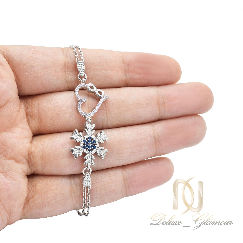 دستبند نقره دخترانه طرح برف و قلب ds-n468
