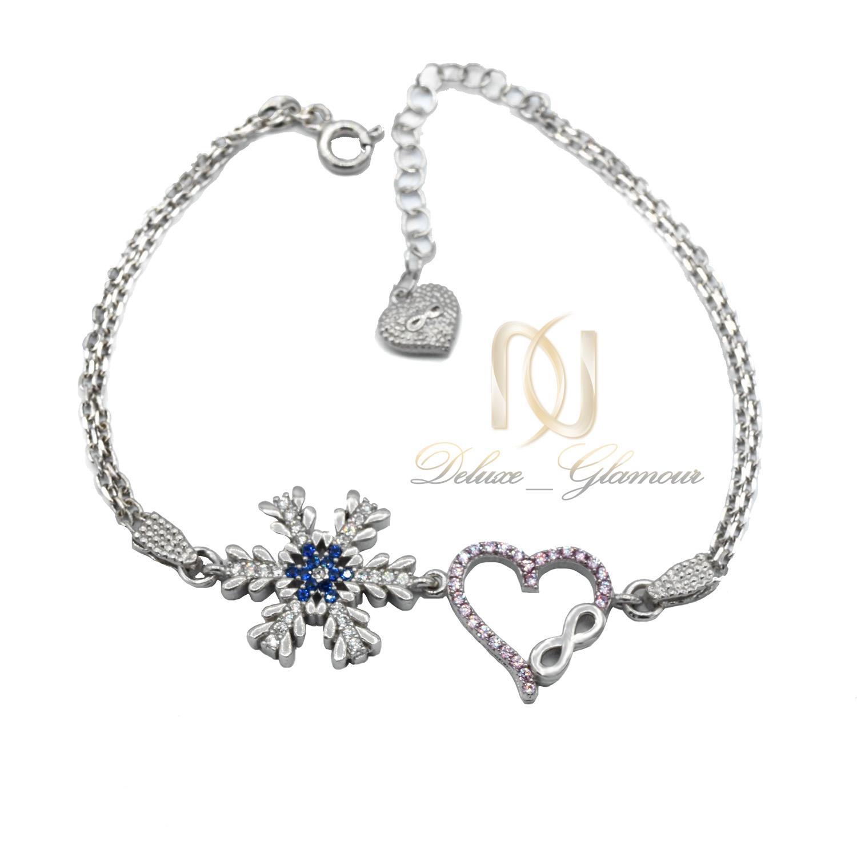 دستبند نقره دخترانه طرح برف و قلب ds-n468 از نمای سفید