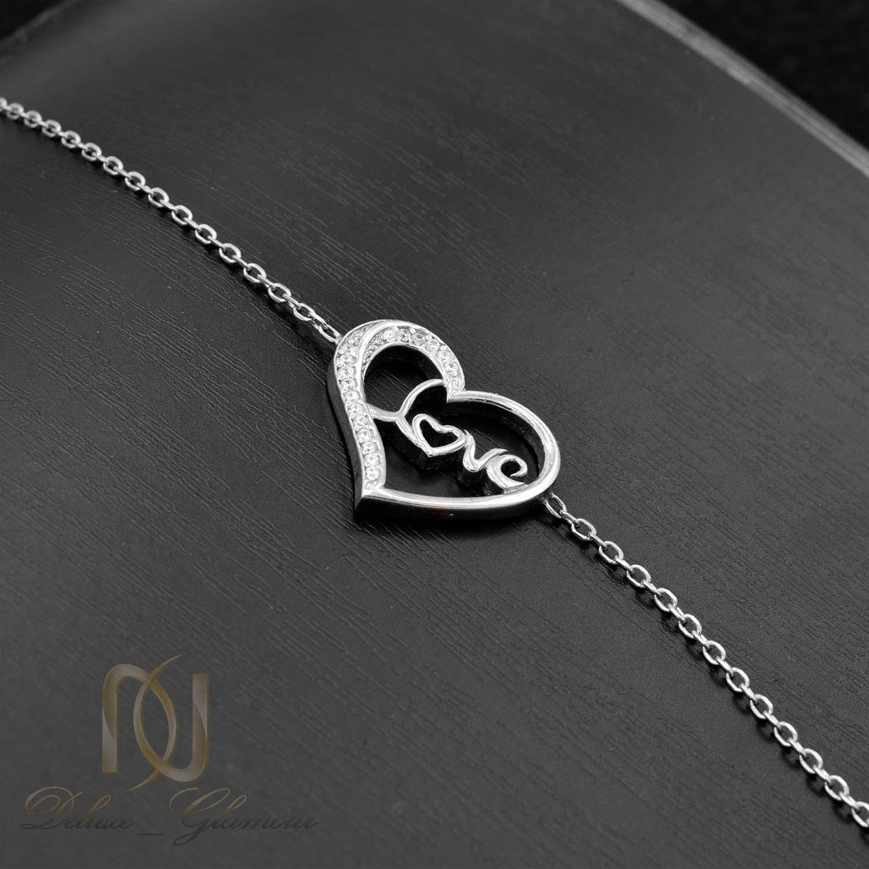 دستبند نقره دخترانه طرح لاو ds-n010 - زمینه مشکی