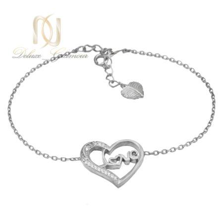 دستبند نقره دخترانه طرح لاو ds-n010 - عکس اصلی