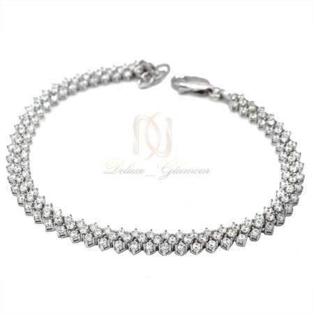 دستبند نقره زنانه جواهری نگین برلیان اتمی ds-n469 از نمای سفید
