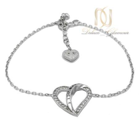 دستبند نقره طرح قلب و لاو ظریف Ds-n573