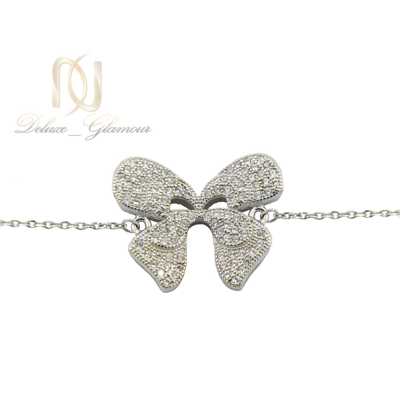 دستبند نقره پروانه پر نگین ds-n09 - زمینه سفید