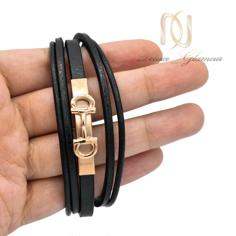 دستبند پسرانه چرم طرح فریگامو پنج ردیفه ds-n499