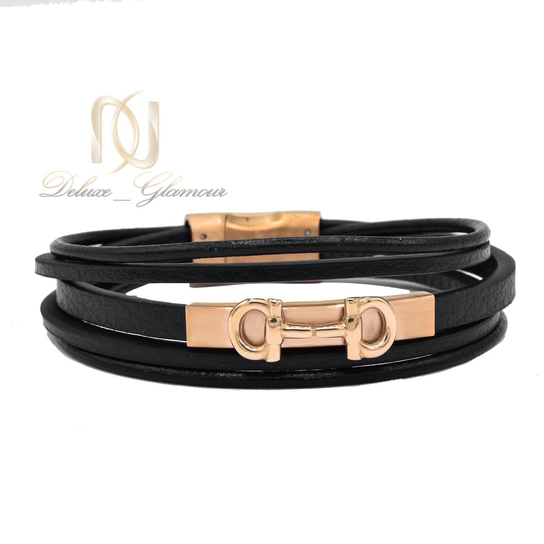 دستبند پسرانه چرم طرح فریگامو پنج ردیفه ds-n499 از نمای روبرو