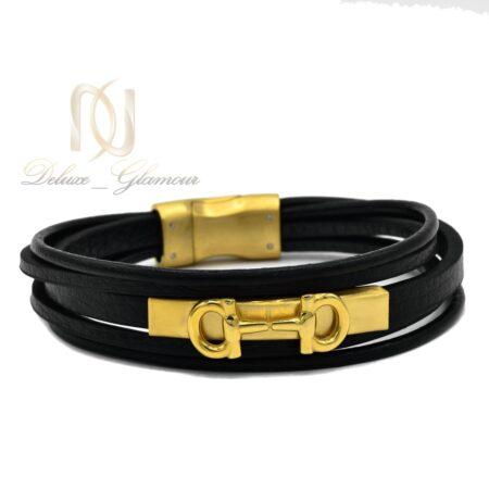 دستبند چرم مردانه 5 ردیفه اسپرت ds-n500 از نمای سفید