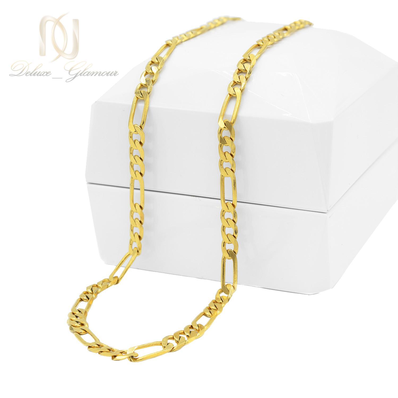 زنجیر مردانه استیل طرح لوفیگارو طلایی nw-n528 از نمای روبرو