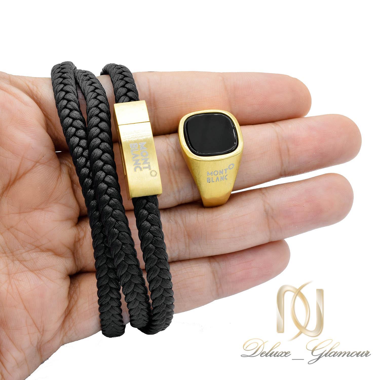 ست انگشتر و دستبند MONTBLANC طلایی NS-N453 از نمای روی دست