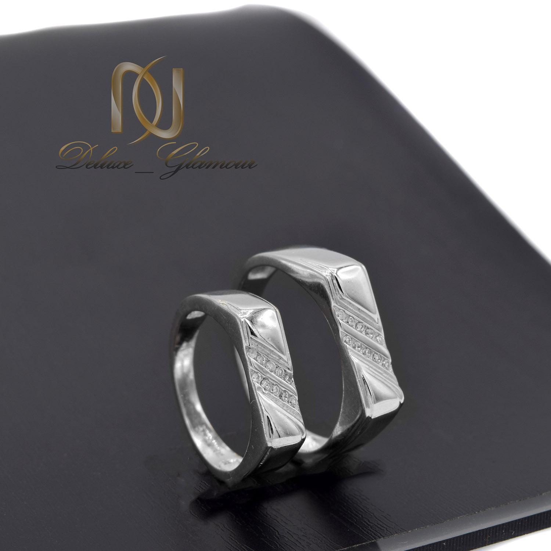 ست حلقه نقره ازدواج طرح جدید نگین دار rg-n411 از نمای مشکی