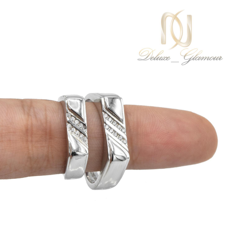 ست حلقه نقره ازدواج طرح جدید نگین دار rg-n411 از نمای روی دست