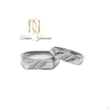 ست حلقه نقره ازدواج طرح جدید نگین دار rg-n411 از نمای سفید