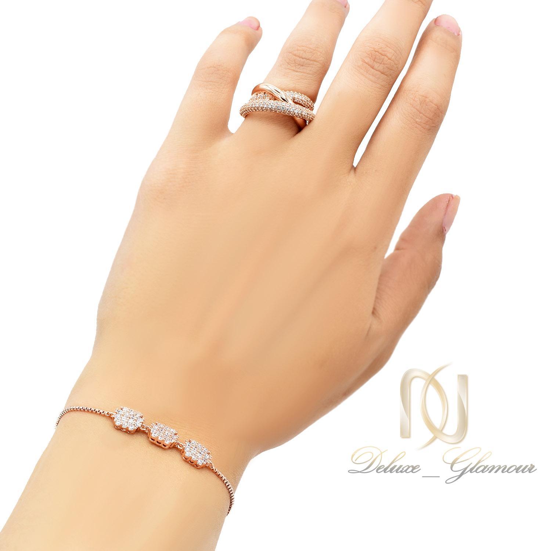 ست دستبند و انگشتر زنانه سواروسکی ns-n455 از نمای روی دست