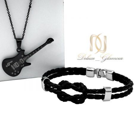 ست دستبند و گردنبند اسپرت مشکی ns-n453