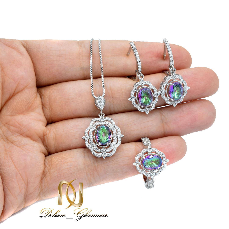 نیم ست نقره زنانه جواهری نگین هفت رنگ ns-n467 از نمای روی دست