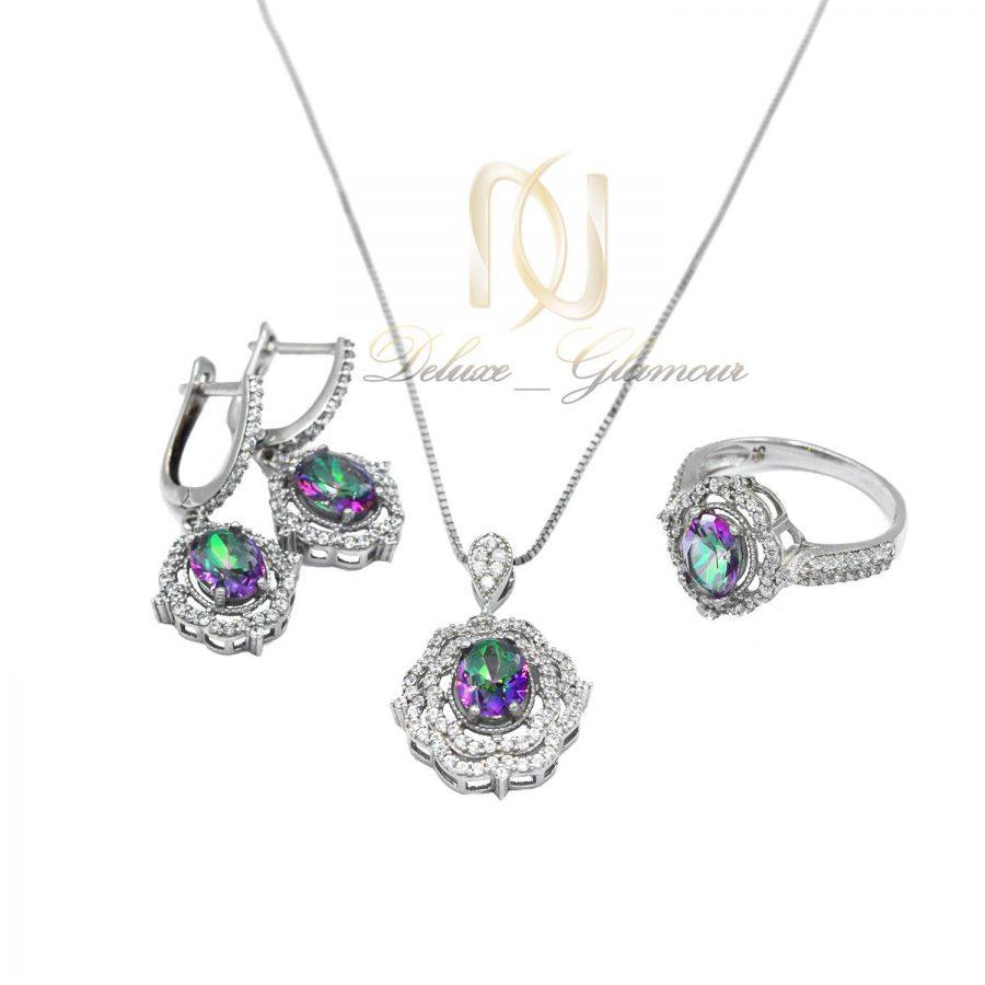 نیم ست نقره زنانه جواهری نگین هفت رنگ ns-n467 از نمای سفید