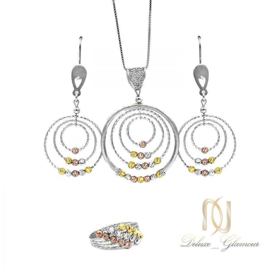 نیم ست نقره زنانه طرح ساچمه ای و حلقه ns-n466 از نمای سفید