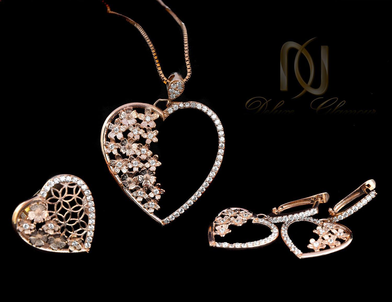 نیم ست نقره زنانه طرح قلب و شکوفه رزگلد ns-n465 از نمای مشکی