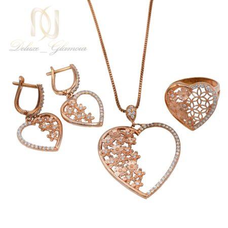 نیم ست نقره زنانه طرح قلب و شکوفه رزگلد ns-n465 از نمای سفید