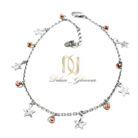 پابند نقره دخترانه طرح گوی و ستاره رزگلد pa-n014 - عکس اصلی