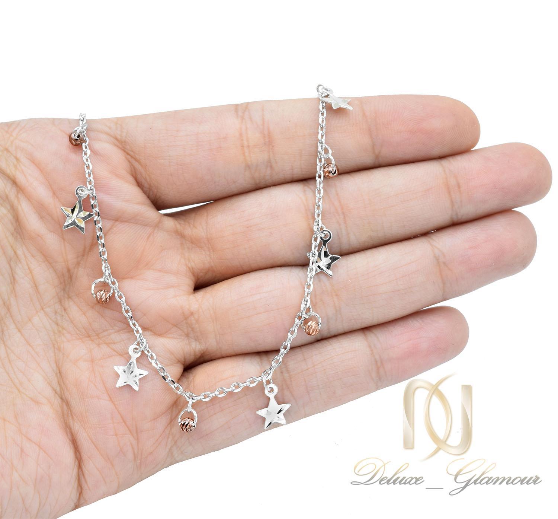 پابند نقره دخترانه طرح گوی و ستاره رزگلد pa-n014 - عکس روی دست