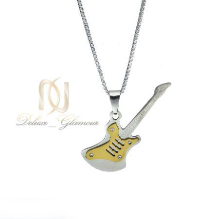 گردنبند اسپرت استیل طرح گیتار طلایی nw-n527 از نمای سفید