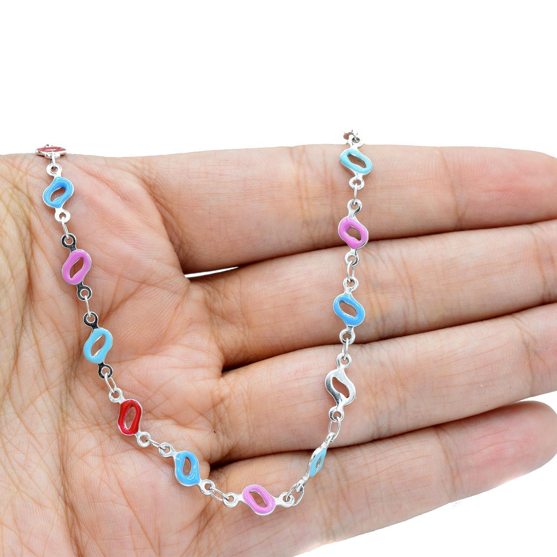 گردنبند دخترانه فانتزی استیل نگین لاکی NW-N532 از نمای روی دست