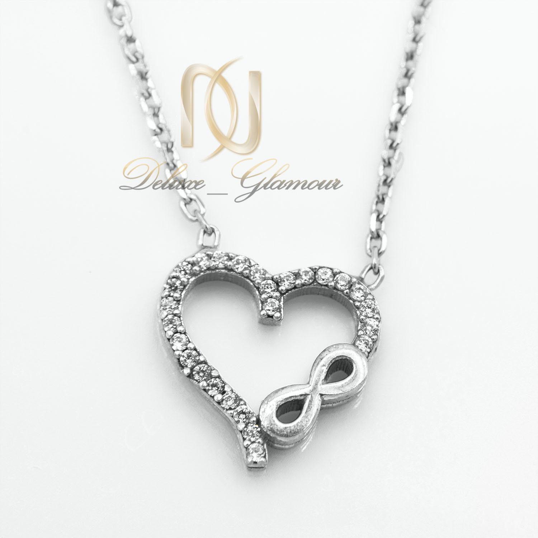 گردنبند دخترانه نقره طرح بی نهایت و قلب nw-n530 از نمای سفید