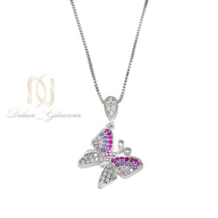 گردنبند دخترانه نقره طرح پروانه ظریف nw-n529 از نمای سفید