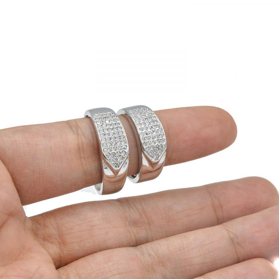 حلقه ست ازدواج نقره طرح طلا سفید rg-n423 از نمای روی دست