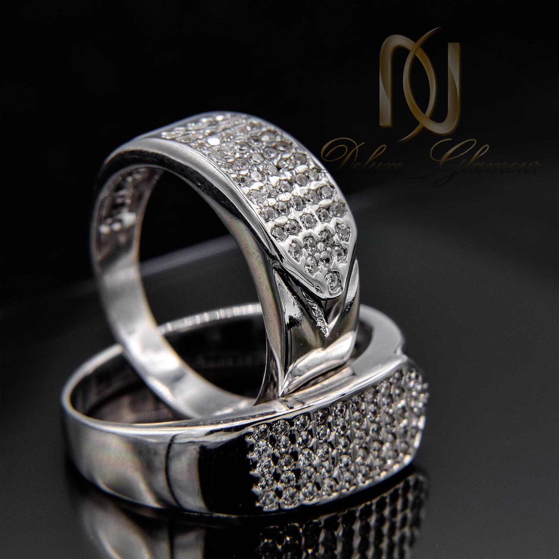 حلقه ست ازدواج نقره طرح طلا سفید rg-n423 از نمای مشکی