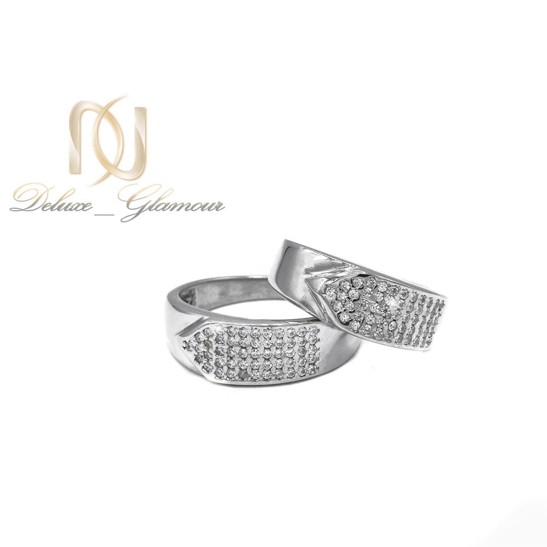 حلقه ست ازدواج نقره طرح طلا سفید rg-n423 از نمای سفید