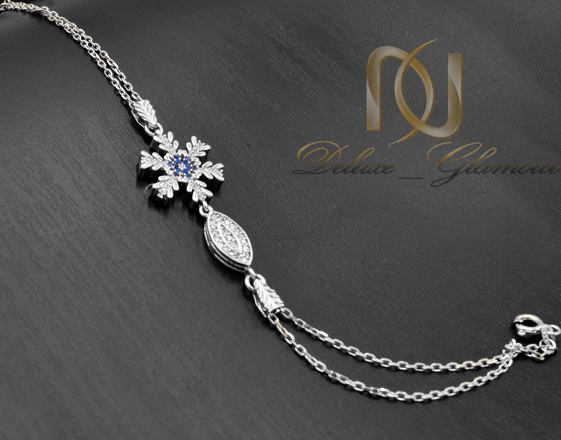 دستبند دخترانه نقره زنجیری طرح برف ds-n473 از نمای مشکی