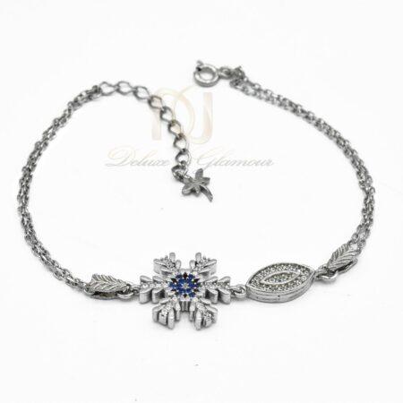 دستبند دخترانه نقره زنجیری طرح برف ds-n473 از نمای سفید