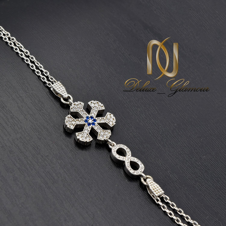دستبند دخترانه نقره طرح بی نهایت و برف ds-n475 از نمای مشکی