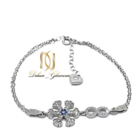 دستبند دخترانه نقره طرح بی نهایت و برف ds-n475 از نمای سفید