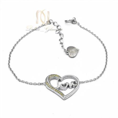 دستبند طرح قلب دخترانه ds-n482 از نمای سفید