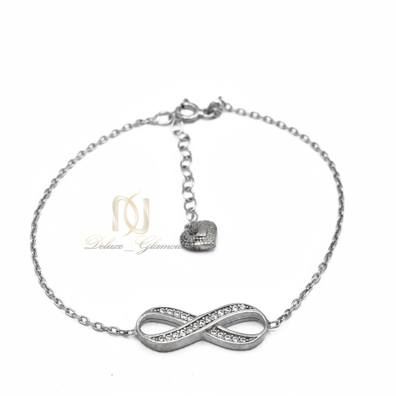 دستبند نقره دخترانه طرح بی نهایت نگین دار ds-n474 از نمای سفید